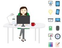 Jonge vrouwenzitting achter een witte Desktop royalty-vrije illustratie