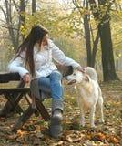 Jonge vrouwenzitting op bank bij de herfstpark geknuffelhond stock foto