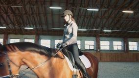 Jonge vrouwenzitting op horseback en het berijden op behandelde zandige arena die praktijk hebben stock videobeelden