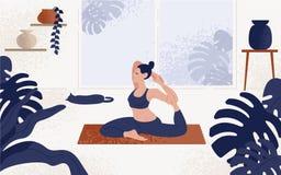 Jonge vrouwenzitting in yogahouding en het mediteren Meisje die aerobicsoefening en ochtendmeditatie thuis uitvoeren royalty-vrije illustratie