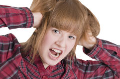 Jonge woedende vrouw Stock Foto's