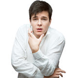 Jonge zachte donkerbruine mens Stock Foto's