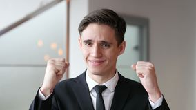 Jonge Zakenman Celebrating Success stock videobeelden