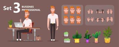 Jonge zakenman die aan laptop werkt stock illustratie