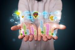 Jonge zakenman die kleurrijk hand getrokken metropolitaans ci voorstellen Stock Afbeeldingen