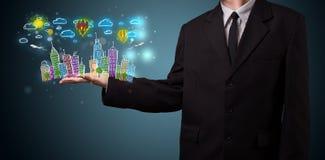 Jonge zakenman die kleurrijk hand getrokken metropolitaans ci voorstellen Royalty-vrije Stock Afbeeldingen