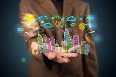 Jonge zakenman die kleurrijk hand getrokken metropolitaans ci voorstellen Stock Foto's