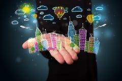 Jonge zakenman die kleurrijk hand getrokken metropolitaans ci voorstellen Stock Fotografie