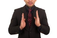 Jonge zakenman die lege ruimte houdt Stock Fotografie