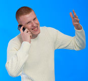 Jonge zakenman die op celtelefoon spreekt Royalty-vrije Stock Afbeeldingen