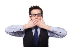 Jonge zakenman die op wit wordt geïsoleerd Stock Fotografie