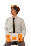 Jonge zakenman die over toekomst denkt stock afbeelding