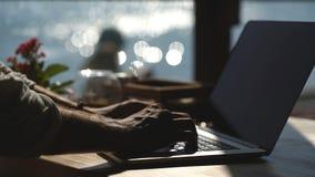 Jonge zakenman die zijn laptop op de waterkant op overzeese achtergrond met behulp van stock videobeelden