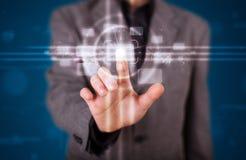 De dringende hoogte van de zakenman - technologietype van moderne knopen stock foto's