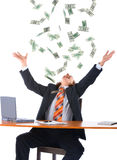 Jonge zakenman en dalend geld Stock Afbeelding
