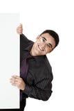 Jonge zakenman met een spatie Stock Foto's