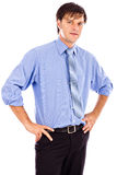 Jonge zakenman met handen op heupen, klaar voor zijn carrière royalty-vrije stock afbeeldingen
