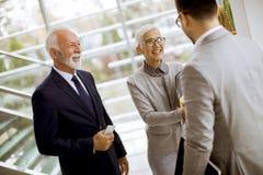 Jonge zakenman met hogere cliënten die zich in bureau bevinden royalty-vrije stock fotografie