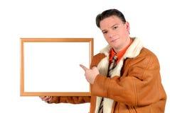 Jonge zakenman met lege adverterende raad Royalty-vrije Stock Afbeelding