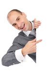 Jonge zakenman met lege raad Stock Foto