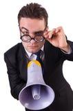 Jonge zakenman met luidspreker Stock Afbeeldingen
