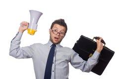 Jonge zakenman met luidspreker Stock Foto