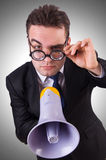 Jonge zakenman met luidspreker Royalty-vrije Stock Afbeeldingen