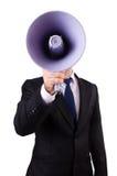 Jonge zakenman met luidspreker Stock Foto's