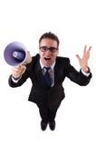 Jonge zakenman met luidspreker Stock Afbeelding
