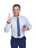 Jonge zakenman met mobiele die telefoon op wit wordt geïsoleerd Royalty-vrije Stock Fotografie