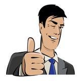 Jonge zakenman met omhoog duim Stock Fotografie