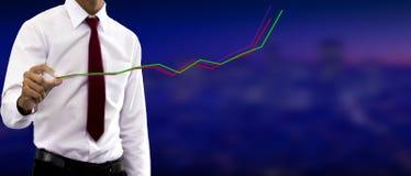 Jonge zakenman Study van de lijngrafiek royalty-vrije stock afbeelding