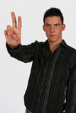 Jonge zakenman twee vingers Stock Fotografie