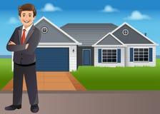 Jonge zakenman voor huis Stock Afbeelding