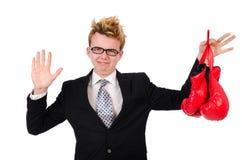 Jonge zakenmanbokser Stock Foto
