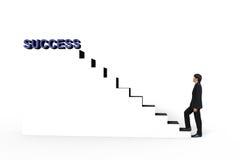 Jonge zakenmangang omhoog aan witte trede aan succes 3d teksten Royalty-vrije Stock Foto