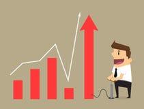 Jonge zakenmanpompen omhoog een grafiek, Bedrijfsconcept Stock Afbeeldingen