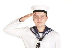 Jonge zeeman die geïsoleerdeo witte achtergrond groet Royalty-vrije Stock Fotografie