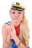 Jonge zeeman met handcuffs Stock Foto