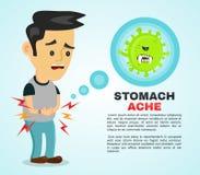 Jonge zieke mens die maagpijn hebben, voedselvergiftiging, maagproblemen, buikpijn de vector vlakke illustratie van het beeldverh Stock Foto's