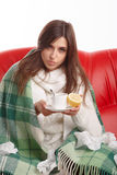 Jonge zieke vrouw Royalty-vrije Stock Afbeeldingen