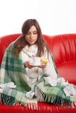 Jonge zieke vrouw Royalty-vrije Stock Fotografie