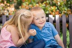 Jonge Zuster en Broer Whispering Secrets On een Bank bij Royalty-vrije Stock Foto