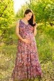 Jonge zwangere vrouw in bloeiende tuin Royalty-vrije Stock Afbeeldingen