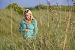 Jonge zwangere vrouw die zich alleen op gebied bevindt stock foto