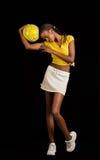 Jonge zwarte vrouwelijke voetballer Stock Afbeelding