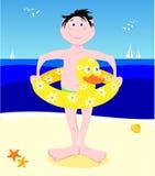 Jonge zwemmer met lifesaver gevormde eend Stock Afbeelding