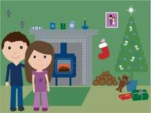 Jongelui & in liefde bij Kerstmis royalty-vrije illustratie