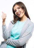 Jongelui die gelukkige vrouw glimlachen Stock Afbeelding