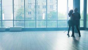 Jongelui koppelt het dansen aan hartstocht in een studio met rook stock footage